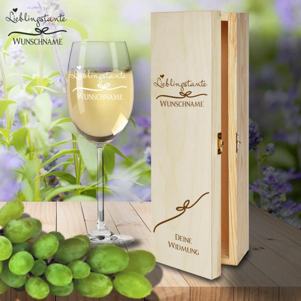 Geschenk Box und Weißweinglas von Leonardo Lieblingstante mit Namensgravur