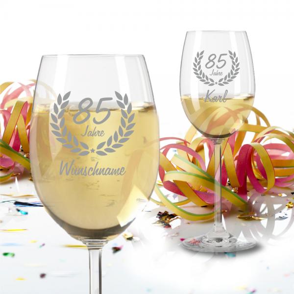 Personalisiertes Weißweinglas zum 85 Geburtstag