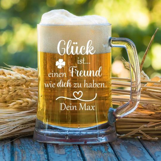 personalisierter Bierkrug Glück ist einen Freund