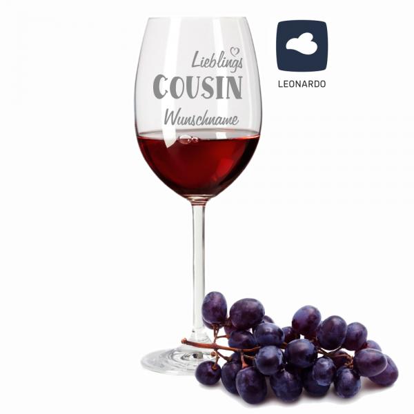 Rotweinglas Lieblings-Cousin mit Wunschnamen