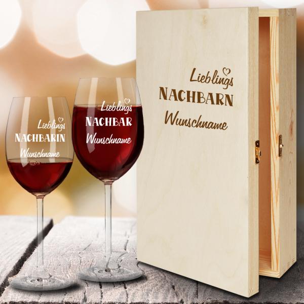 Geschenkbox Rotweingläser von Leonardo mit Gravur Lieblings-Nachbarn