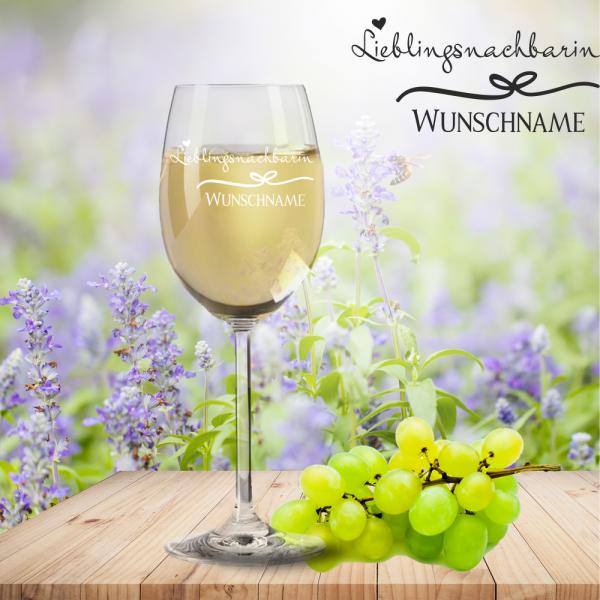 Weißweinglas von Leonardo Lieblingsnachbarin mit Namensgravur
