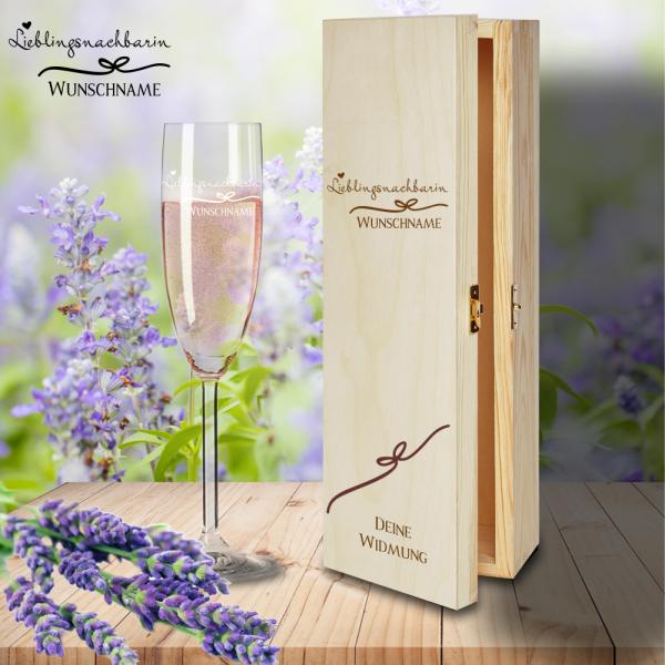 Geschenkbox Lieblingsnachbarin mit Sektglas von Leonardo und Gravur