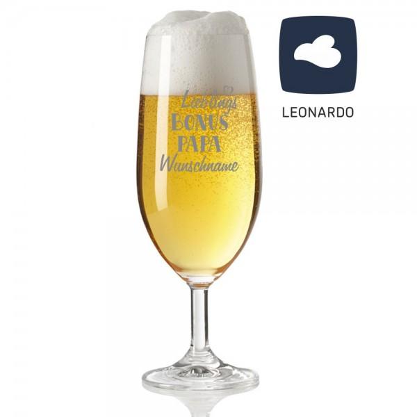Bierglas mit Gravur von Leonardo - Lieblings-Bonuspapa