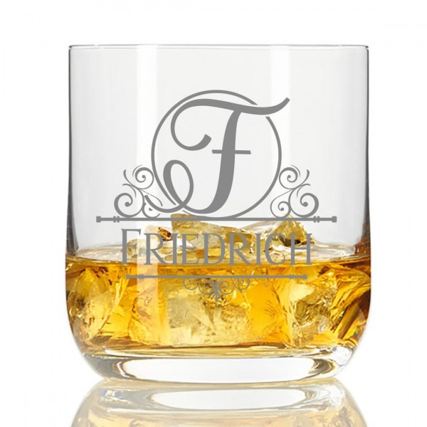 Whisky-Glas mit Gravur Monogramm