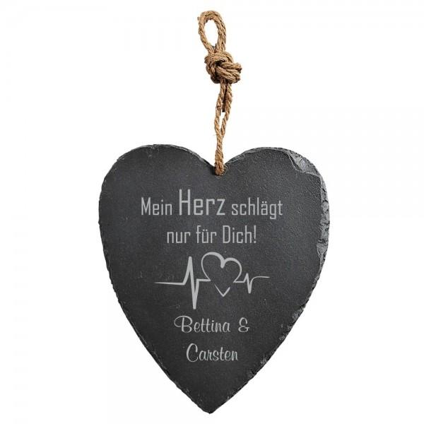 Herz-Schiefertafel mit Gravur -Heartbeat-