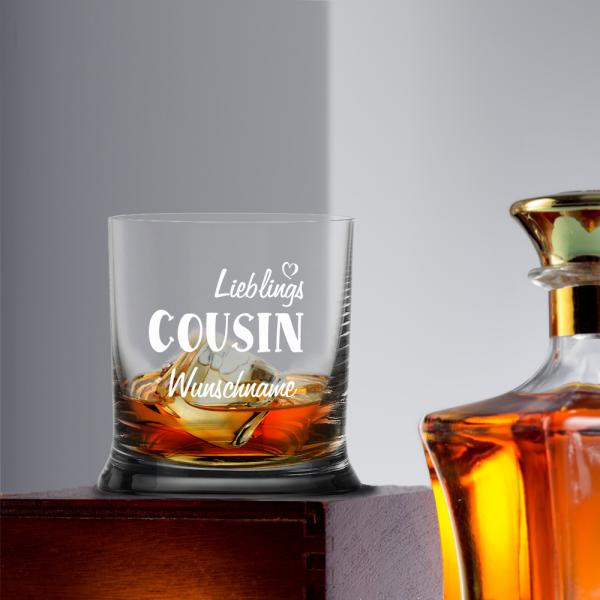 Whiskyglas Lieblings-Cousin mit Namensgravur