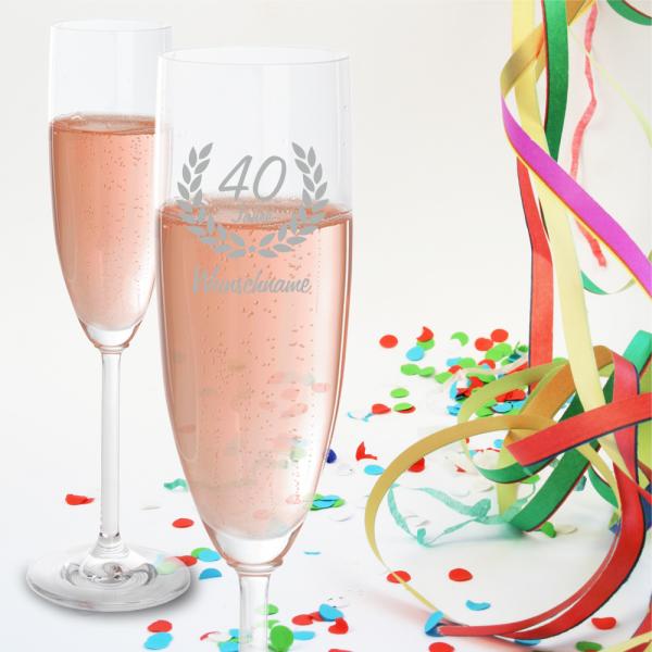 Sektglas zum 40. Geburtstag - Dein Wunschname