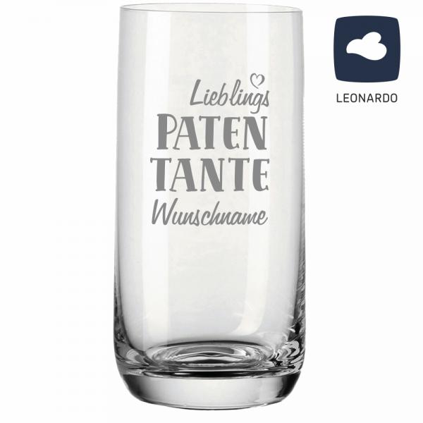 Trinkglas Lieblings-Patentante mit Deinem Wunschnamen
