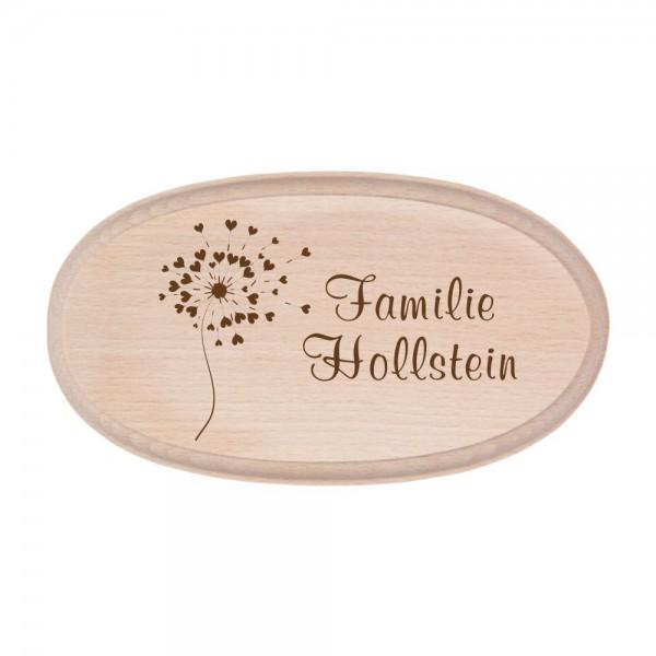 Türschild mit Deinem Familiennamen - Pusteblume