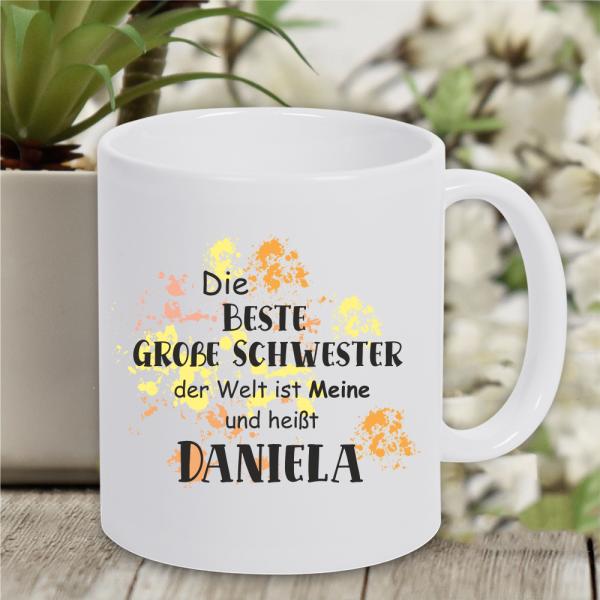 Tasse beste große Schwester... mit Wunschnamen