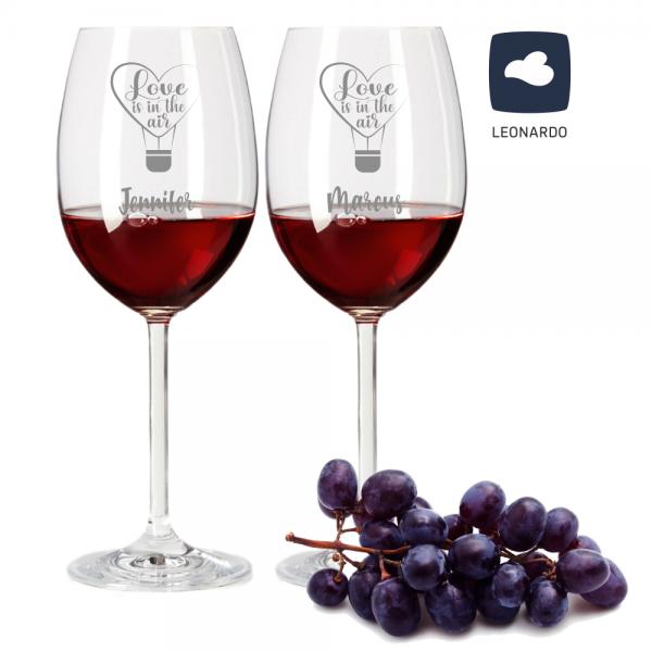 Rotwein-Set Leonardo mit Gravur Love is in the air zum Jahrestag zur Hochzeit