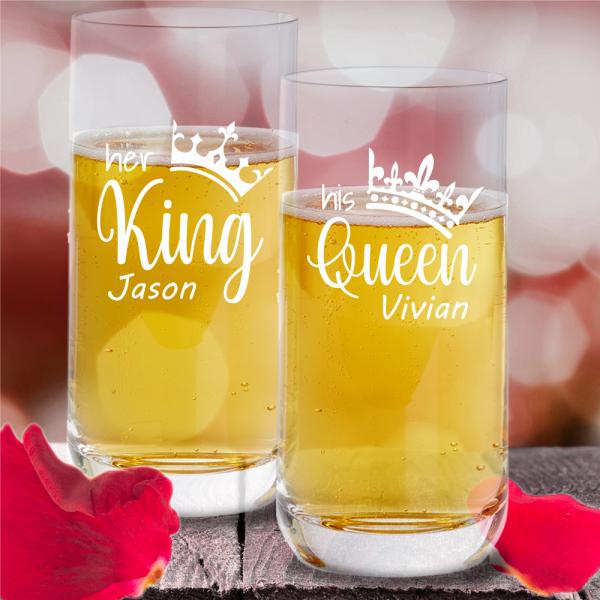 Trinkgläser Partnerset King Queen mit Wunschnamen