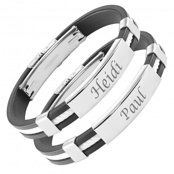 Partner-Armbänder Kordel weiß