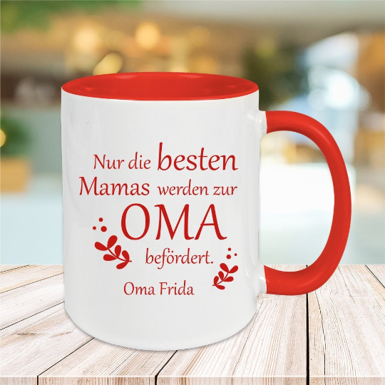 Tasse Nur die besten Mamas werden zum Oma befördert mit Wunschgravur