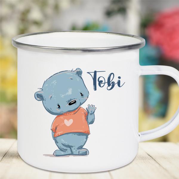 Emaille Tasse Kinder mit Deinem Namen -Teddy