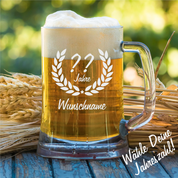 Personalisierter Bierkrug zum Geburtstag 0,5 l - Wunschjahr