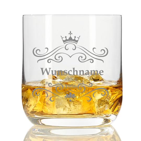Whisky-Glas mit Wunschnamen und Datum