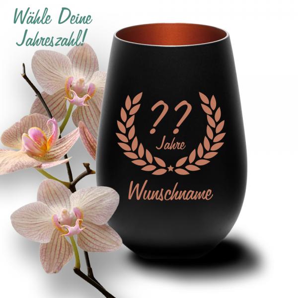 Glas-Windlicht zum Geburtstag mit Deinem Wunschjahr schwarz-bronze