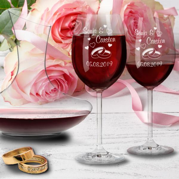 Personalisiertes Leonardo Geschenk-Set zur Hochzeit: Rotweingläser und Dekanter- Ringe
