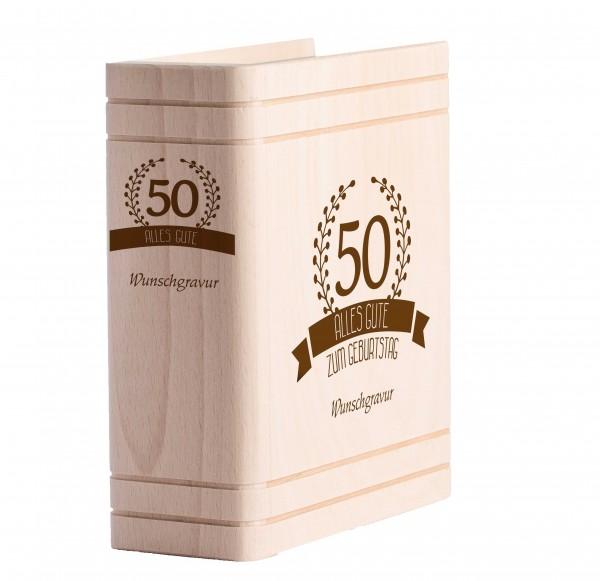 Personalisiertes Sparbuch mit Gravur - 50. Geburtstag