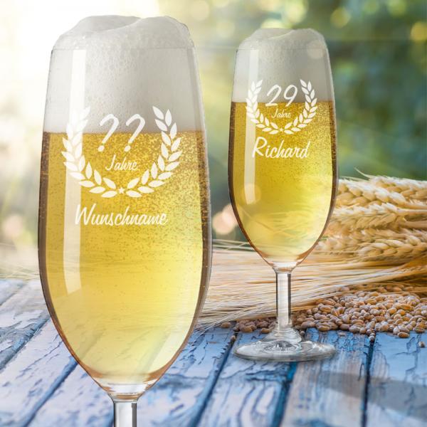 personalisiertes Bierglas zum Geburtstag - Wunschjahr