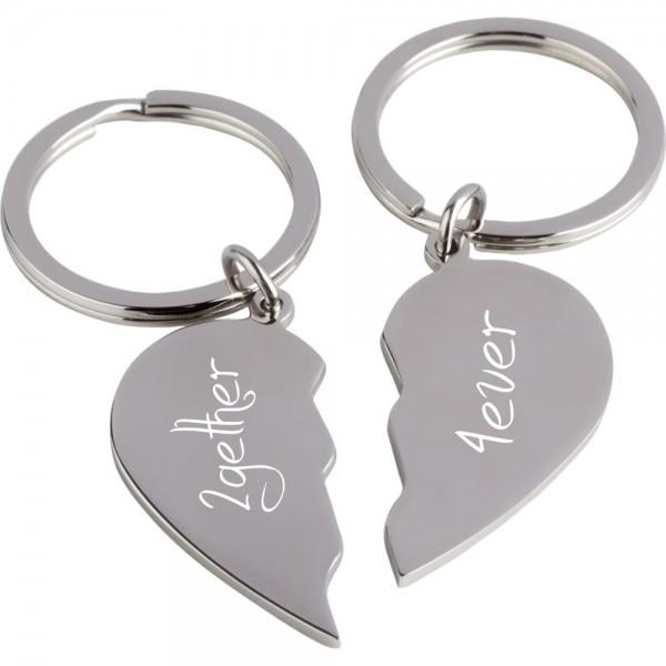 Edelstahl-Schlüsselanhänger geteilte Herzen