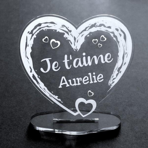 Acryl-Herz Ich liebe Dich + Name- verschiedene Sprachen