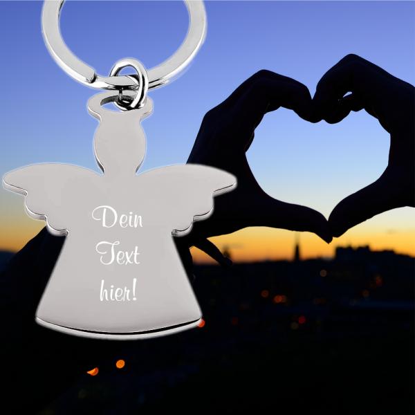 Schlüsselanhänger Edelstahl Engel mit Wunschgravur