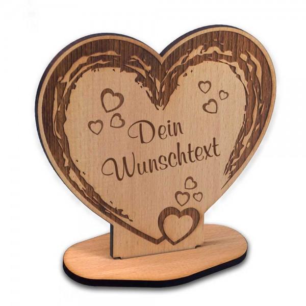 Holz-Aufsteller Herz mit Deinem Wunschtext