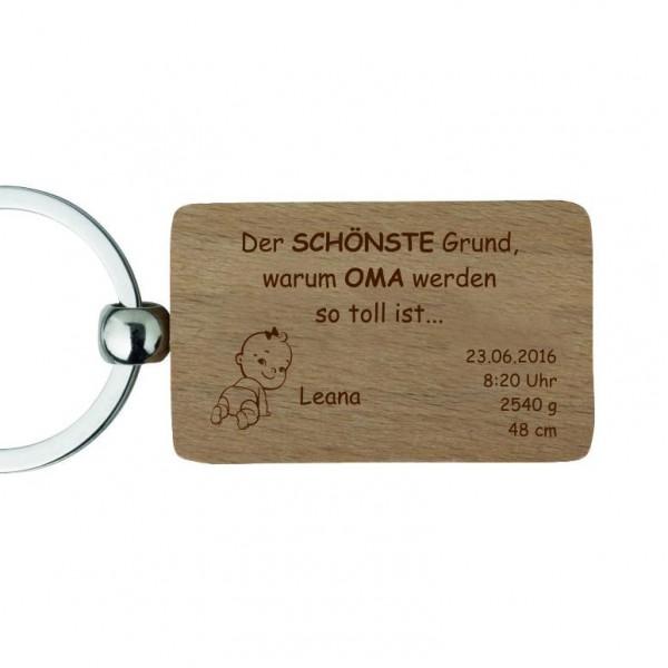 Holz-Schlüsselanhänger mit Gravur -Zur Geburt für Oma