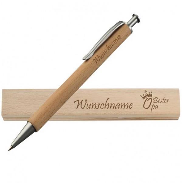 Holz-Kugelschreiber + Wunschnamen für den Besten Opa -Schriftzug