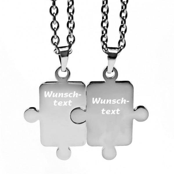 Partner-Anhänger mit Gravur Puzzle