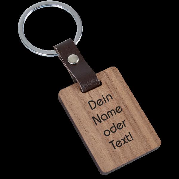 Holz-Schlüsselanhänger Leder mit Deiner Wunschgravur Nussbaum