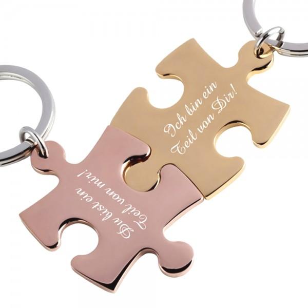 Trendgravur Partner-Schlüsselanhänger mit Gravur Puzzle rosegold gold
