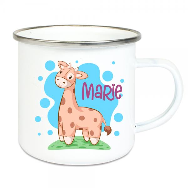 Emaille Tasse Kinder mit Deinem Namen -Giraffe