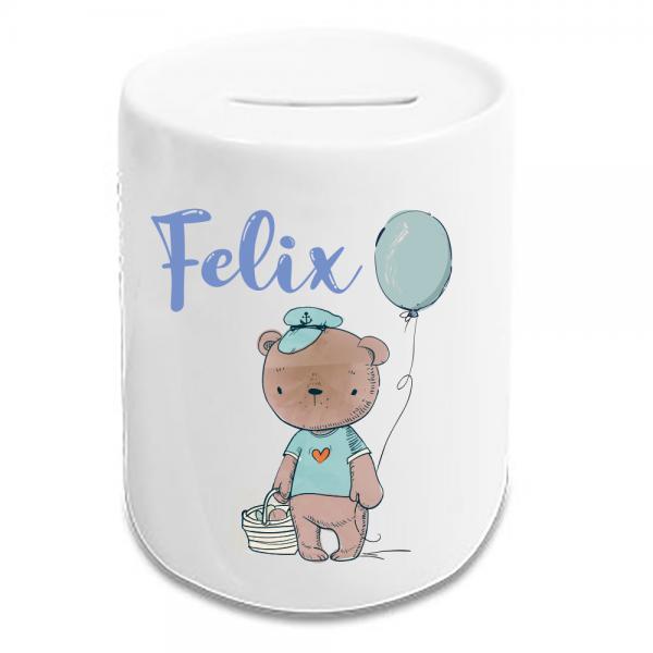 Kinder-Spardose mit Teddybär mit Wunschnamen