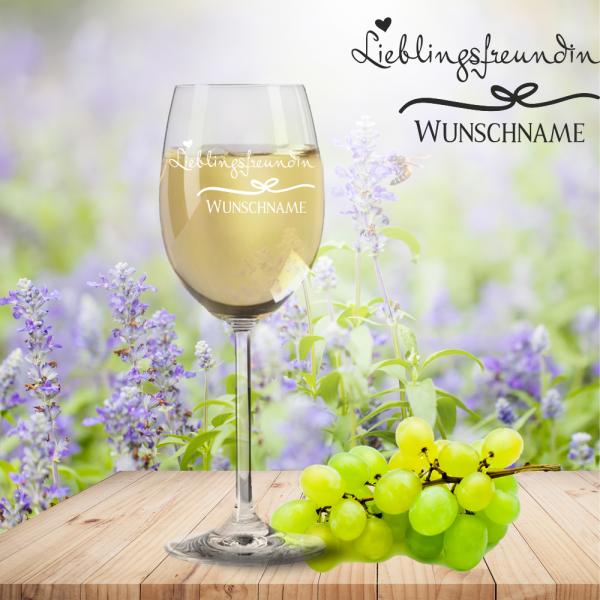 Weißweinglas von Leonardo Lieblingsfreundin mit Namensgravur