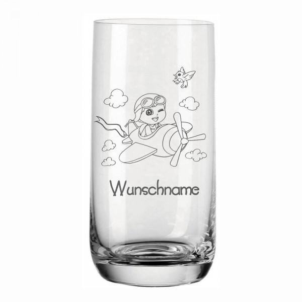 Trinkglas für Kinder Wunschname von Leonardo - Junge im Flugzeug