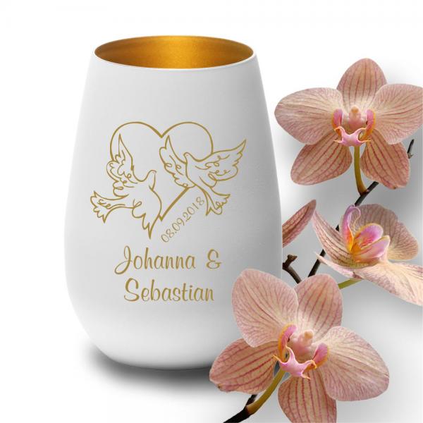 personalisiertes Windlicht zur Hochzeit - Motiv Tauben weiss-gold