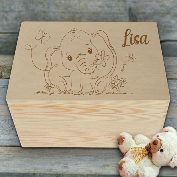 Holzkiste Erinnerungsbox für Kinder mit Elefant und Wunschnamen