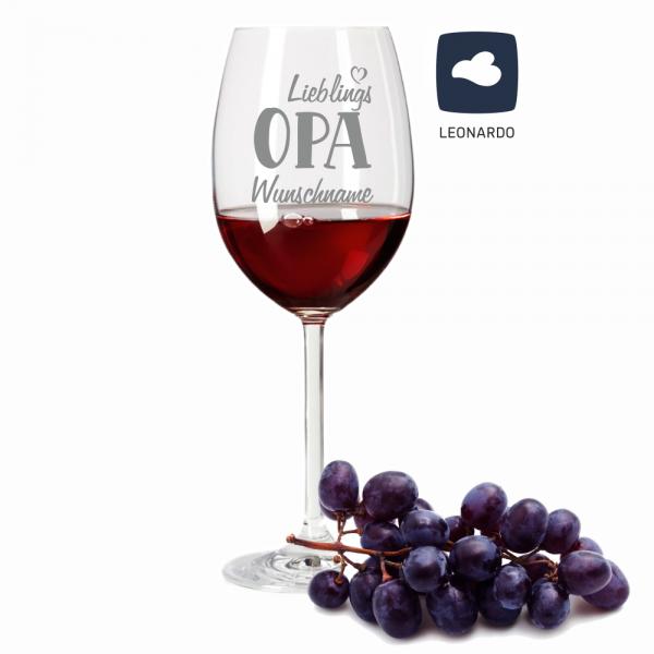 Rotweinglas Lieblings-Opa mit Wunschnamen
