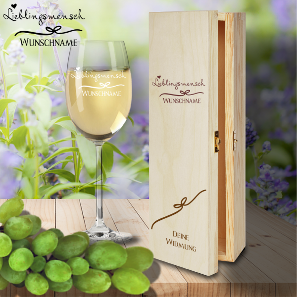 Geschenk Box und Weißweinglas von Leonardo Lieblingsmensch mit Namensgravur