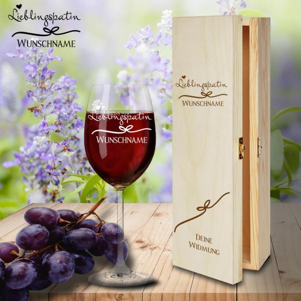 Geschenk Box und Rotweinglas von Leonardo Lieblingspatin mit Namensgravur