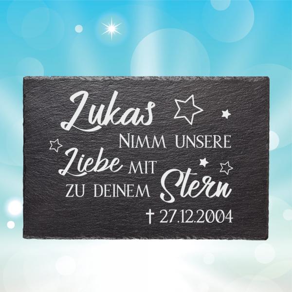 Schiefertafel Gedenktafel Sternenkind - Nimm unsere Liebe