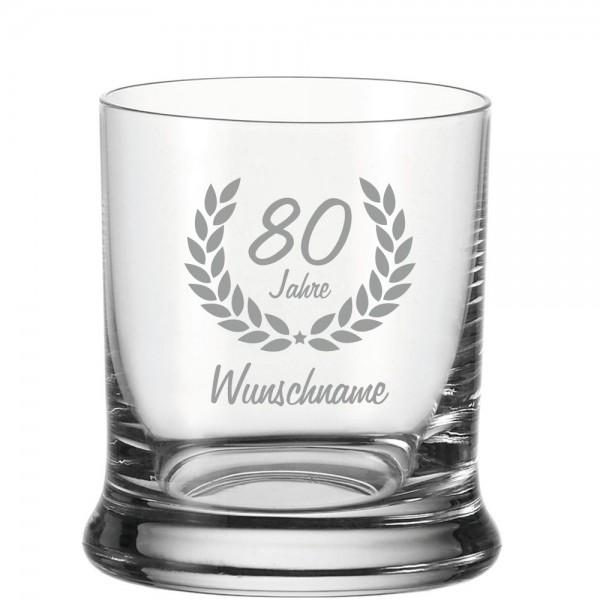 Whisky-Glas mit Namensgravur zum 80. Geburtstag