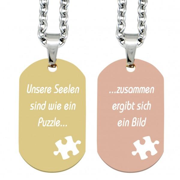Partner-Anhänger mit Gravur DogTag Puzzle gold rosé
