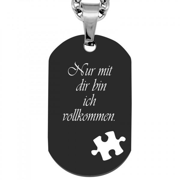 Gravuranhänger Dogtag- Puzzle Wunschtext- schwarz