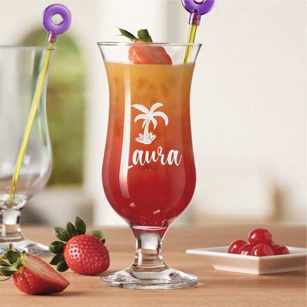 Cocktailglas mit Deinem Namen - Palme