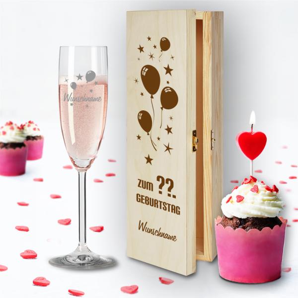 Geschenkbox und Sektglas von Leonardo Luftballons mit Namensgravur und Wunschjahr